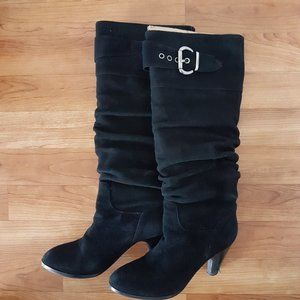 Bravo Browns Knee Length Black Suede Heeled Boots